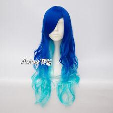 Unique Lolita Women 65CM Dark Blue Mix Ice Blue Long Curly Ombre Cosplay Wig+Cap