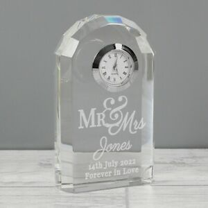 Personalised Mr & Mrs Crystal Clock Wedding Clock Gifts Anniversary Gifts Bride