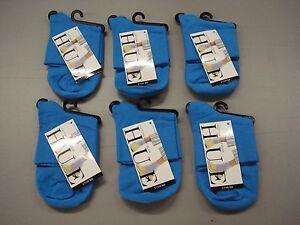 NWT Women's Hue Cotton Bodysock Socks One Size Pond (Blue) 6 Pair #136J