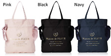 Maison de FLEUR Double Ribbon Tote Bag Pink Black Navy