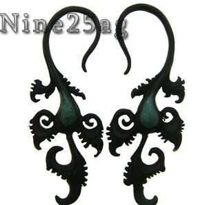 PAIR 8G BUFFALO HORN WITH TURQUOISE INLAY SPIRALS PLUGS TRIBAL INLAY 3 INCH LONG