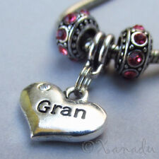 Gran Heart European Charm Bead With Birthstones For Large Hole Charm Bracelets