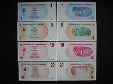 ZIMBABWE  1 + 5 + 10 + 20 Dollars 1.8.2006  (P37 - P40)  UNC