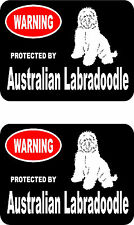 2 protected by Australian Labradoodle dog car bumper home window vinyl stickers