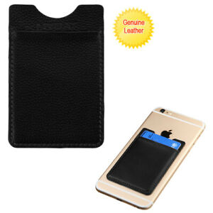 Black Genuine Leather Adhesive Card Pouch Phone Attachment Credit ID Slots
