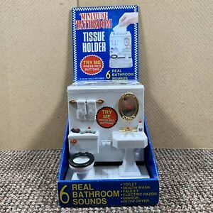 VTG 1995 Fun-Damental Too Miniature Novelty Bathroom Tissue Box Holder w/ sound