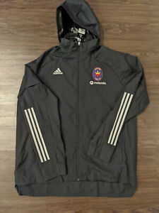 adidas Chicago Fire FC Full Zip Hooded Windbreaker Jacket Motorola 2XL XXL $80