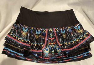 "Lucky In Love Multi Colored Velour Tennis/Golf Skirt/Skort Size Large 14.5"" Tall"