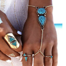 Mujer Bohemia brazalete Cadena dedo turquesa Pulsera joyería Bracelet