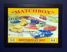 Matchbox Toys G-1 Motorway Set Vintage 1965 Framed A4 Size Poster Shop Sign