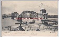 (95167) AK Düsseldorf, Rheinbrücke, Dampfschiff 1905
