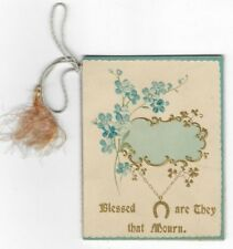 BLESSED ARE THEY THAT MOURN Antique MINIATURE VICTORIAN MOURNING BOOK Death Card