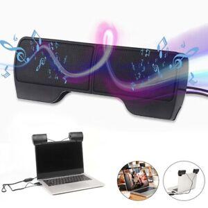 USB Clip-On Computer Sound Bar Stereo Laptop Desktop PC Notebook Speakers Hot
