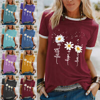 UK Womens Floral Short Sleeve Tops Ladies Summer Crew Neck Casual Blouse Shirt