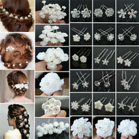 20/40Pcs/Lot Wedding Bridal Pearl Rose Flower Hair Pins Rhinestone Crystal Clips