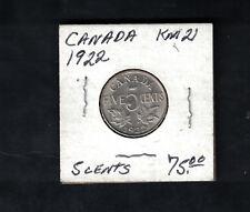 1922 Canada 5 Cents # KM 21 Silver Coin