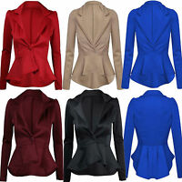 New Womens Ladies Plus Size Slim Fit Frill Peplum Blazer Jacket Top UK Size 8-24