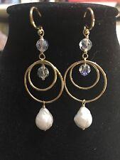 "chan luu 2 1/2"" long White Pearl Gold Rings And AB Crystal earrings"