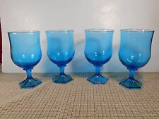 """Anchor Hocking Glass Flair Laser Blue Set of 4 Water/Wine Goblets 5 3/4"""""""