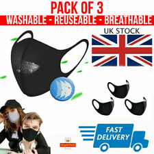 Pack of 3 Face Mas Cover Washable Breathable Protective Mouth Unisex UK