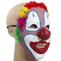 Scary Evil Clown Mask Latex Halloween Horror Red Hair Adult Morbid Fancy Dress K
