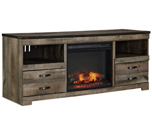 Ashley Trinell Large TV Stand with Fireplace Option Brown