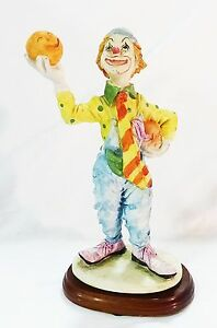 Vintage resin clown hobo on wood stand home decor collectible