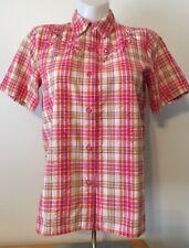 Alfred Dunner Women's Shirt Button Down Short Sleeve Beaded Floral Size 12 EUC