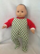 Bitty Baby Holly berry Christmas pj sleeper pajamas 15 girl/boy doll clothes fit
