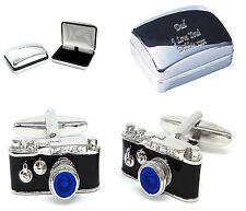 Camera Photographer Cufflinks & Personalised Engraved Chrome Case (X2AJ465/XDCB)
