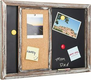 Vintage Torched Wood Finish Wall-Mounted Magnetic Chalkboard& Sliding Cork Board