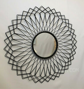 Large Metal Wire Frame Round Wall Mirror Black Gemetric Design Accent Retro 80cm