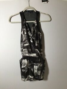Guess Womens Playsuit Romper Size XS Black And White Patterned Sleeveless