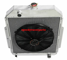 """FOR 48-52 Ford F1-F8 Truck w/Chevy L6/V8 3Row Aluminum Racing Radiator+16"""" Fan"""