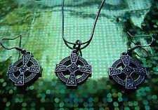 """Historic Celtic Cross Earrings & Pendant on a 30"""" 14K White Gold Filled Chain"""