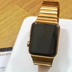 24k Gold Plated Apple Watch Series 1 42mm With Butterfly Link Watch Strap 24ct