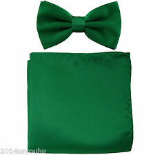 New Emerald Green Men's Bow tie & Pocket Square Hankie set wedding  Party Prom