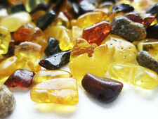 NATURAL POLISHED & RAW( MIX ) BALTIC AMBER SMALL PIECES 4 - 8 mm / 100 grams