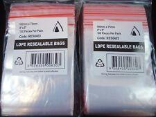 Resealable Plastic Bags X 200 Zip Lock (75x100) RESEAL Ziplock Clip Postage