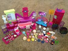 Barbie Glam Doll House Bedroom Bed Vanity Chair Bathroom Tub TV Furniture Lot