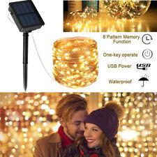 10M 100 LED Solar Lichterkette Außen Lampe Weihnachtsbaumkette Garten Party Deko