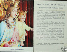 OLD BLESSED VIRGIN MARY HELP & POPE PAUL VI HOLY CARD ANDACHTSBILD SANTINI  C740