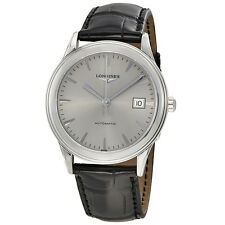 Longines Flagship Silver Dial Black Leather Band Stainless Steel Case Automatic