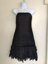 White House Black Market Origami Pleated Satin Strapless Fringe Dress Size 00