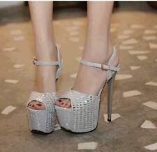Women High Heels Sandals Platform Fashion Stiletto Rhinestone Pumps Shoes Party