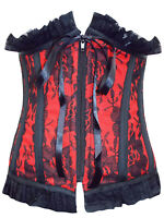 Sexy Black/Red Lace Boned Corset/Basque Goth/burlesque - Size Small - XLarge