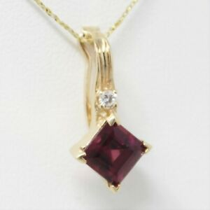 14 kt Yellow Gold Rhodolite Garnet & Diamond Pendant / Pearl Enhancer B0959