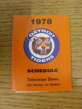 1978 Fixture Card: Baseball - Detroit Tigers (fold out style). Any faults with t
