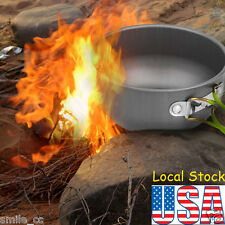 Portable Outdoor Camping Hiking Cooking Nonstick Bowl Pots Pans Cookware Set USA