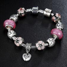 925 Silver Plated Pink MURANO GLASS BEAD LAMPWORK Love European Charm Bracelet